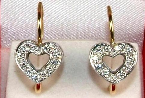 Hearts Earrings with Diamonds Pave