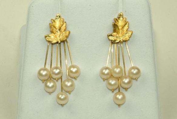 Yellow Gold Leaf earrings with Akoya Pearls